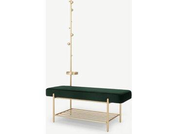 Asare, banc d'entrée tapissé avec étagère et portemanteau intégrés, velours vert sapin et pieds laiton