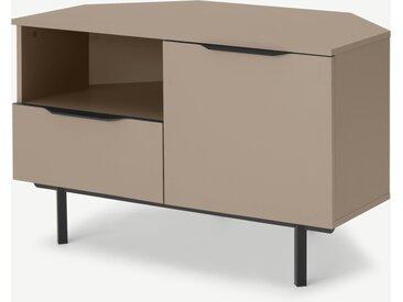 Damien, meuble TV d'angle, cappuccino et métal noir