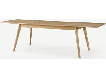 Albers, table rectangulaire extensible 6 à 12 personnes, chêne et embouts laiton