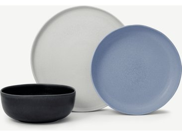 Ingram, service 12 pièces, gris et bleu indigo