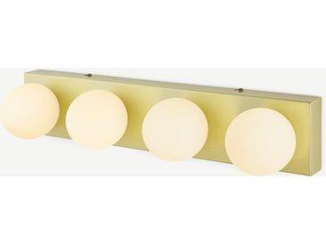 Apollo, luminaire de salle de bain rectangulaire à 4 ampoules, laiton brossé et verre dépoli