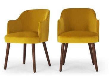 Swinton, lot de 2 chaises à accoudoirs, velours jaune safran et bois teinté foncé