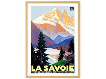 La Savoie, affiche de voyage en couleur et cadre chêne (disponible en plusieurs tailles)