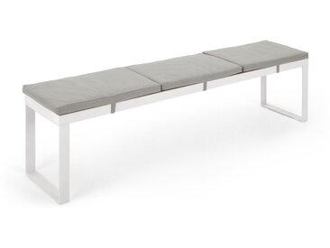 Catania, grand banc d'extérieur en bois composite polywood, tissu gris et métal blanc