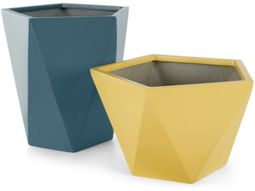 Baloo, lot de 2 cache-pots hauts en fiberstone, jaune et bleu canard