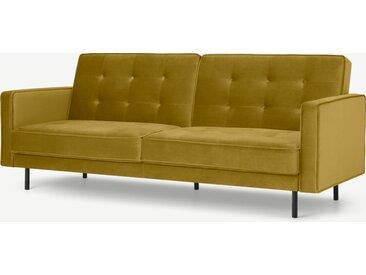 Rosslyn, canapé convertible clic-clac, velours doré vintage