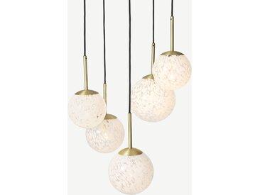 Julia, suspension 5 ampoules, verre moucheté blanc et laiton