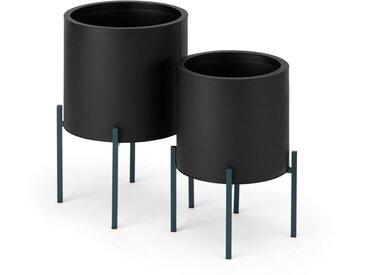 Noor, lot de 2 grands cache-pots en fer, noir et bleu canard