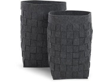 MADE Essentials – Bask, lot de deux paniers à linge tissés en feutre, charbon