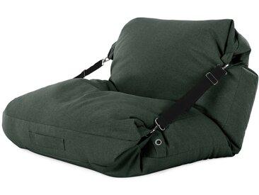 Tuck, fauteuil de sol pouf poire, vert forêt et sangle noire contrastante