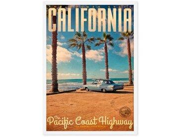 California, affiche illustrée en couleur et cadre blanc (disponible en plusieurs tailles)