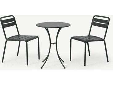 Emu, ensemble bistro table et 2 chaises, acier thermolaqué gris foncé