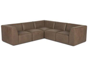 Juno, canapé d'angle panoramique 5 places, cuir brun châtaigne