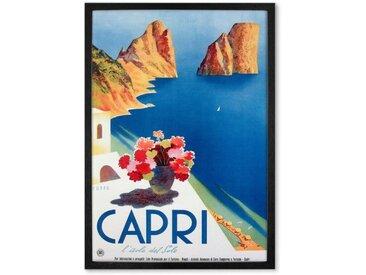 Capri, affiche touristique en couleur et cadre noir (plusieurs tailles disponibles)