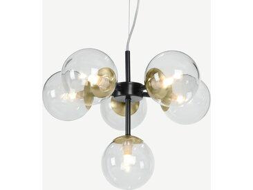 Globe, petit lustre 6 ampoules, laiton patiné et verre fumé