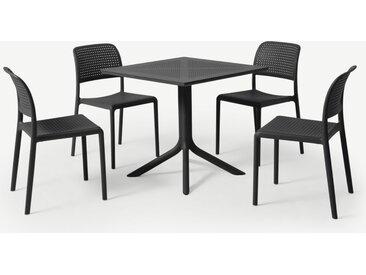 Nardi, ensemble table et 4 chaises, fibre de verre et résine gris foncé