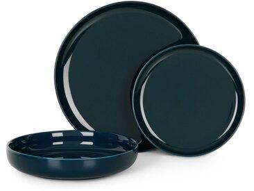 Leah, service de 12 pièces en porcelaine, bleu marine