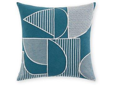Cassar, coussin carré 45 x 45 cm, bleu Égée