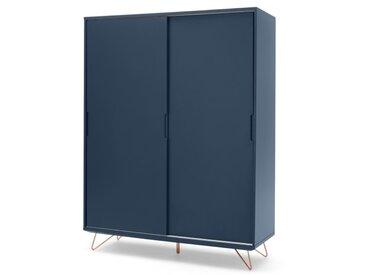 Elona, armoire à portes coulissantes, bleu foncé et cuivre