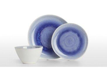 Kyoto, service de 12 pièces en grès fin, glaçure réactive bleue