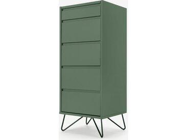 Elona, commode haute 4 tiroirs avec coiffeuse et miroir intégrés, vert fougère et métal noir