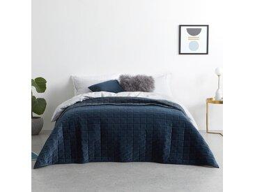Julius, couvre-lit 225 x 220 cm en velours, bleu encre