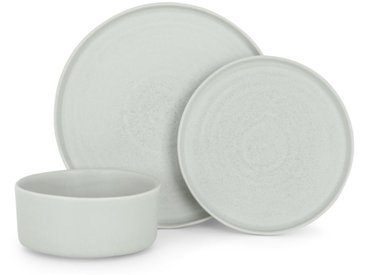 Thane, service de table 12 pièces en grès à glaçure réactive, gris pierre