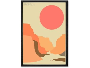 Illustration paysage naturel poster de voyage en couleur format A2 et cadre (disponible en plusieurs tailles)