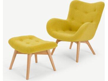 Doris, fauteuil et repose-pieds, chartreuse Shetland