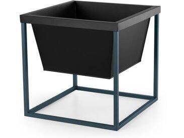 Noor, piédestal pour plantes de forme carrée, métal noir et bleu canard