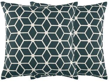 Aldis, lot de 2 coussins imprimés géométriques 45 x 45 cm, Bleu Égée