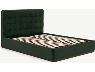Lavelle, lit coffre super king size (180 x 200) avec sommier à lattes, velours vert laurier et bois teinté noyer