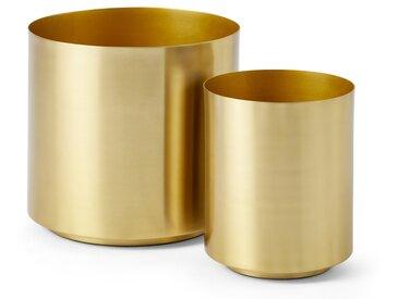 Beaumont, lot de 2 cache-pots en métal, laiton