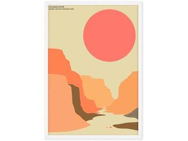 Illustration paysage naturel poster de voyage en couleur format A2 et cadre, Grand Canyon
