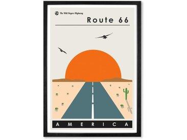 Route 66, affiche touristique en couleur et cadre noir format A2