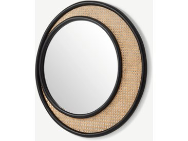 Coretta, miroir mural rond en rotin 80 cm, naturel et noir