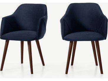 Lule, lot de 2 chaises à accoudoirs, velours bleu roi et noyer