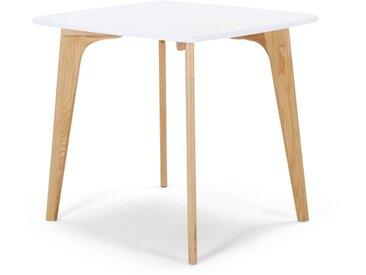 Fjord, table carrée, chêne et blanc