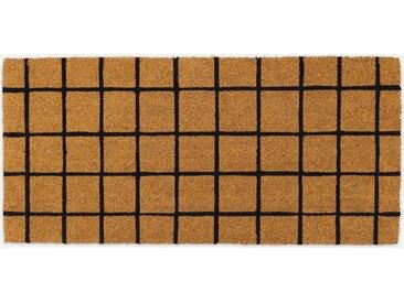 Roel, long paillasson en fibre de coco 50 x 110 cm, naturel et carreaux noirs