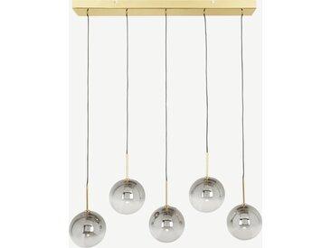 Onyx, lustre LED 5 ampoules, laiton et verre à effet ombré gris