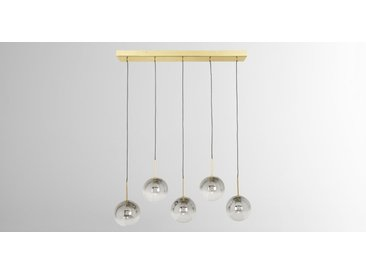 Onyx, lustre LED 5 ampoules, laiton et verre à effet ombré, gris