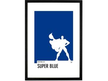 Superman Pantone, par Chungkong, affiche illustrée en bleu et blanc et cadre noir 40 x 50 cm