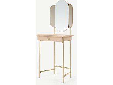 Maddie, coiffeuse avec miroir intégré, rose et pieds fini laiton