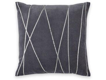 Lonford, coussin en velours 45 x 45 cm, gris fer et argenté
