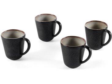 Krisha, lot de 4 tasses en grès à glaçure réactive, moucheté blanc et gris charbon