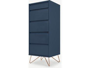 Elona, commode haute 4 tiroirs avec coiffeuse et miroir intégrés, bleu foncé et cuivre
