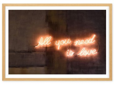 Illustration typographique néon en couleur et cadre, All You Need Is Love (disponible en plusieurs tailles)