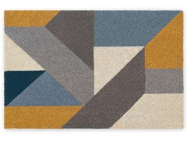 Holden, grand paillasson en fibre de coco 60 x 90 cm, bleu et jaune .