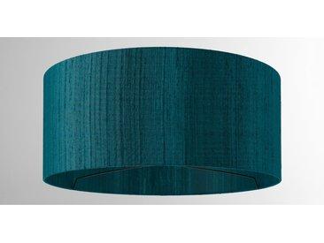 Idris, abat-jour en soie 45 x 20 cm, bleu canard
