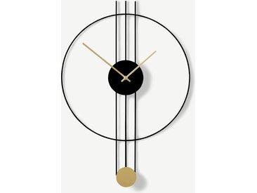 Rowell, horloge pendule 45 x 60 cm, noir et laiton